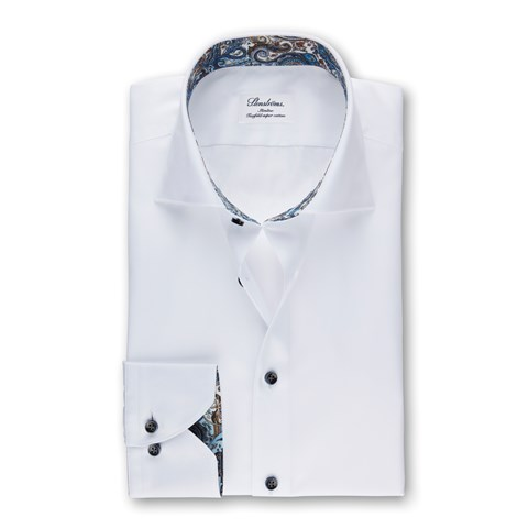 White Slimline Shirt With Paisley Contrast