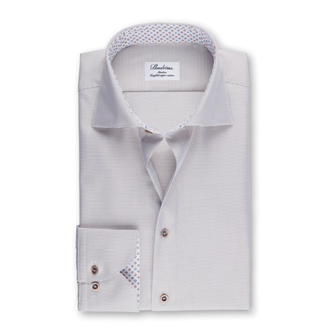 Beige Slimline Shirt With Contrast