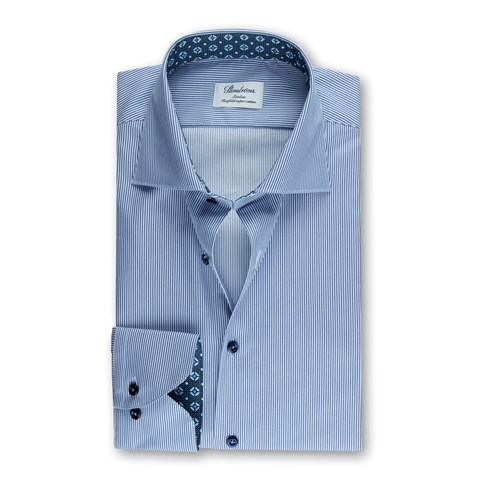 Blue Striped Slimline Shirt w. Contrast