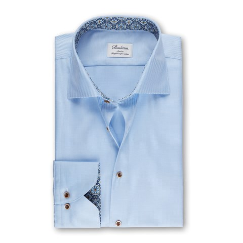 Light Blue Micro Patterned Slimline Shirt With Contrast, Extra Long Sleeves