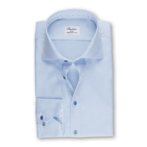 Light Blue Slimline Shirt With Contrast, Extra Long Sleeves