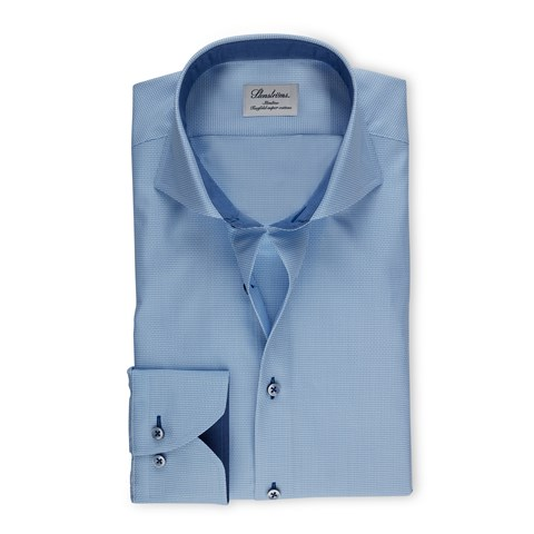 Blue Textured Slimline Shirt With Contrast Details