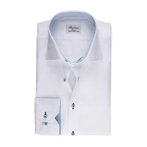 White Slimline Shirt With Blue Contrast Details