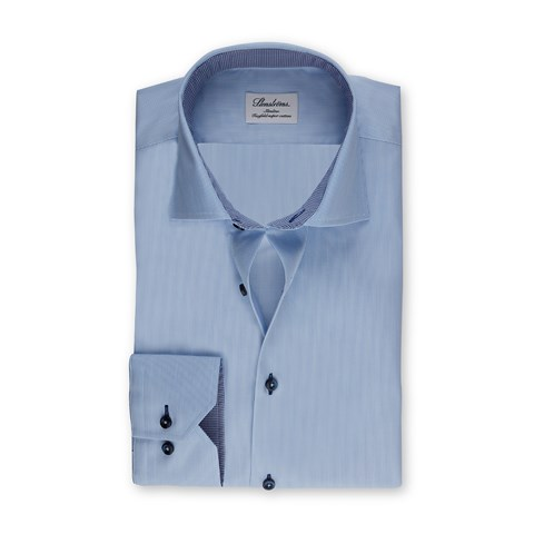 Blue Striped Slimline Shirt With Contrast Details