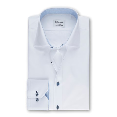 White Slimline Shirt With Blue Contrast
