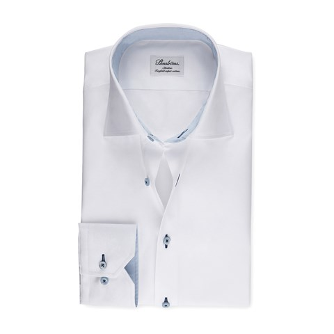 White Slimline Shirt With Blue Details, Extra Long Sleeves