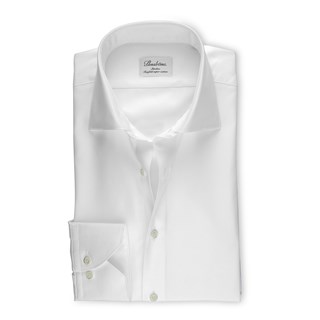 White Slimline Shirt In Textured Twill