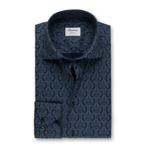 Blue Medallion Patterned Superslim Shirt