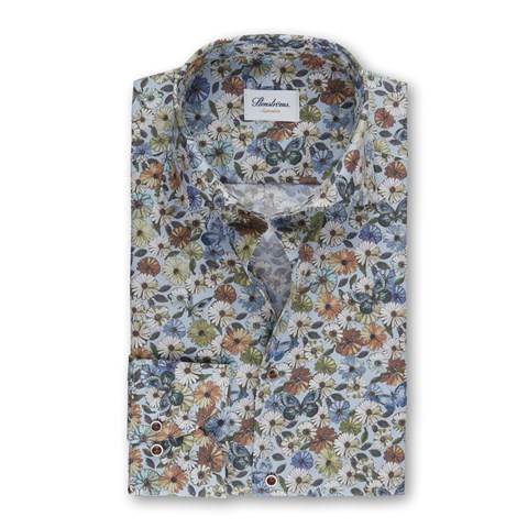 Flower Patterned Superslim Shirt