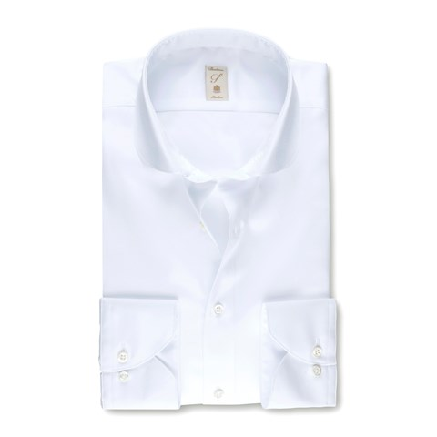White Slimline Shirt With Rounded Collar
