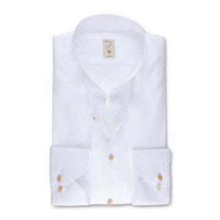 White Cotton Tencel Slimline Shirt