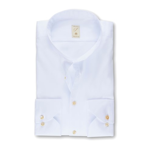 White Cotton Tencel Fitted Body Shirt
