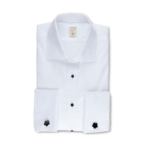 White Slimline Evening Shirt In Jacquard