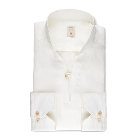 Off-White Linen Slimline Pop-Over Shirt