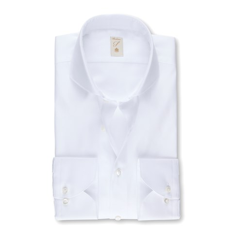 White Pinpoint Oxford Fitted Body Shirt