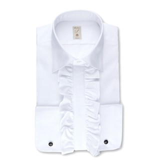 White Ruffle Slimline Evening Shirt