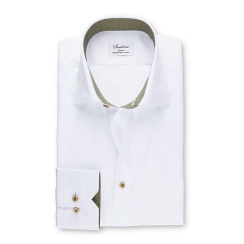 Slimline Shirt With Olive Contrast