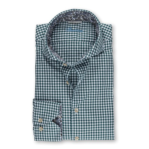 Green Gingham Casual Slimline Shirt With Contrast