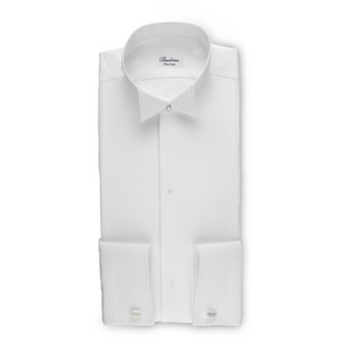 White Tie Fitted Body Shirt With Wing Collar