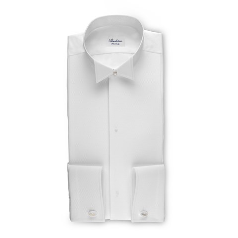 White Tie Fitted Body Shirt, Extra Long Sleeves