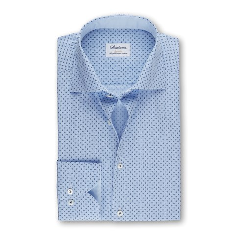 Light Blue Striped Micro Patterned Superslim Shirt