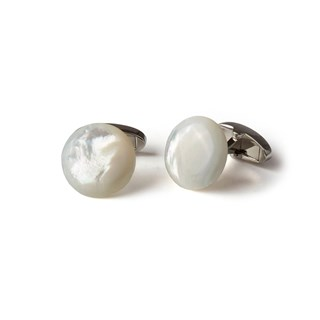 White Mother Of Pearl Cuff Links