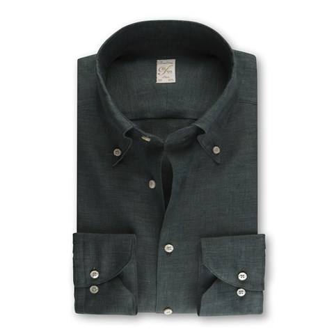 1899 Slim Shirt - Linen, Dark Green