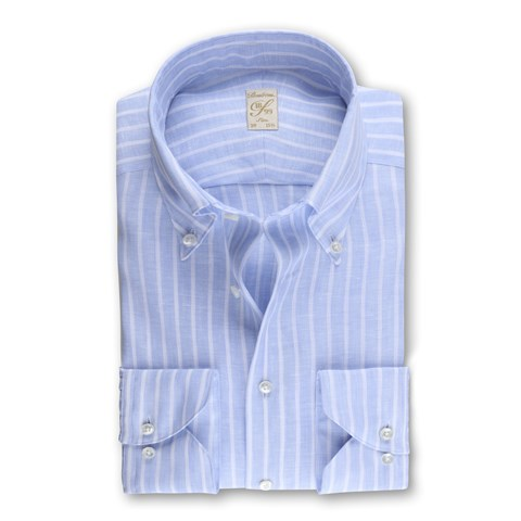 1899 Slim Shirt - Linen, Striped Blue