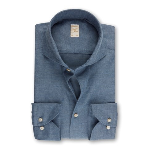 1899 Slim Shirt - Cotton Cashmere, Blue