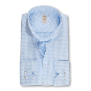 1899 Slim Shirt - Houndstooth, Light Blue