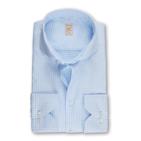 Light Blue Houndstooth 1899 Slim Shirt
