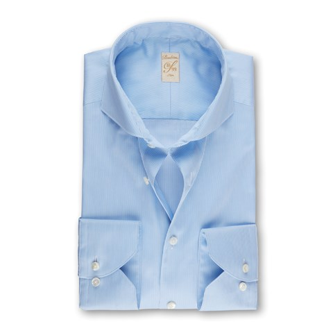 Light Blue Pinstriped 1899 Slim Shirt