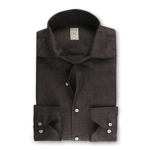 1899 Slim Shirt - Linen, Dark Brown