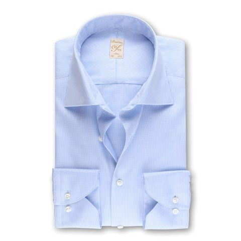 1899 Slim Shirt - Organic Cotton, Micro Pattern Blue