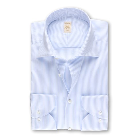 1899 Slim Shirt - Organic Cotton, Striped Blue