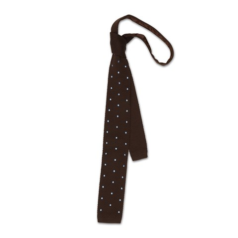 Brown wool tie with dots