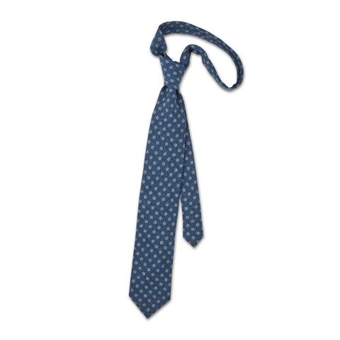 Blue wool tie with dots