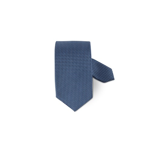 Blue Graphic Patterned Silk Tie