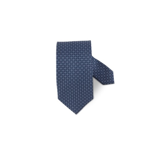 Navy Graphic Patterned Silk Tie