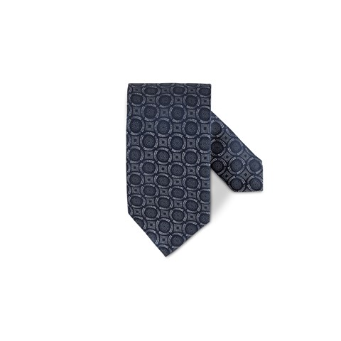 Navy Circle Patterned Silk Tie