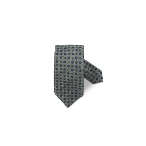 Grey Floral Textured Silk Tie
