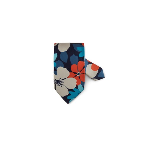 Multicolor Flower Patterned Silk Tie