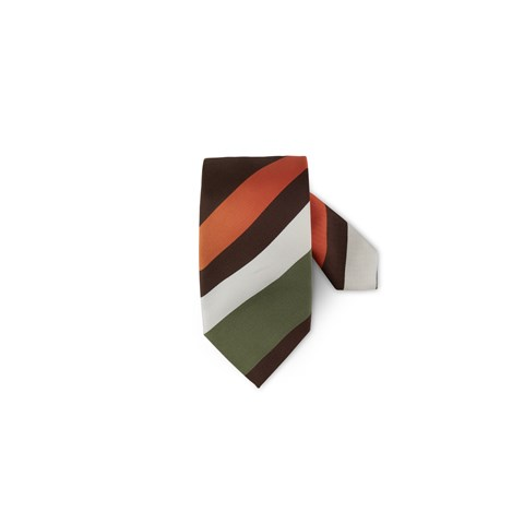 Multicolor Striped Silk/Cotton Tie