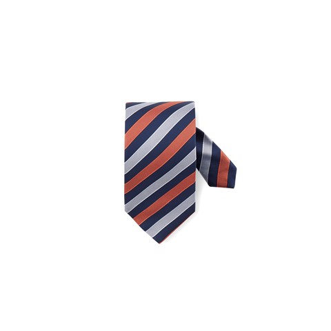 Navy/Orange Striped Silk Tie