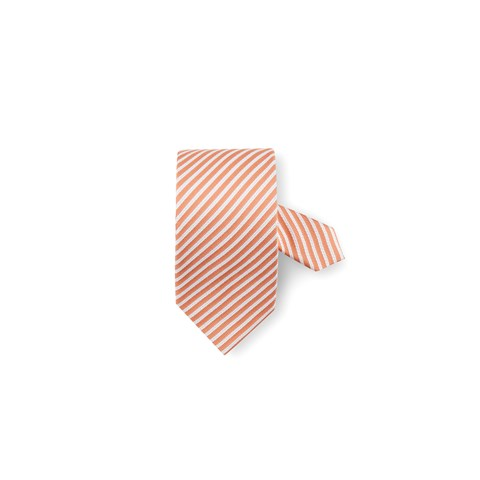 Orange Striped Silk Tie