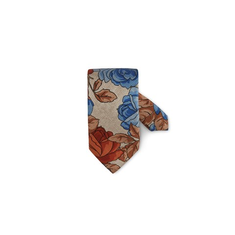 Beige Flower Patterned Silk Tie