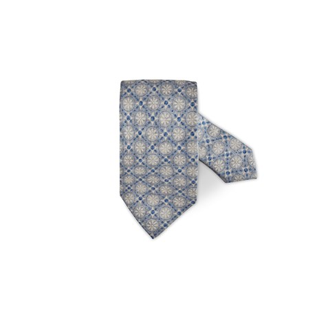 Light Grey Geometric Patterned Silk Tie