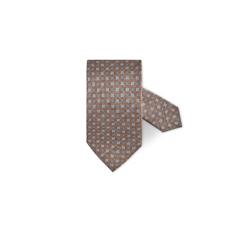 Brown Flower Patterned Silk Tie