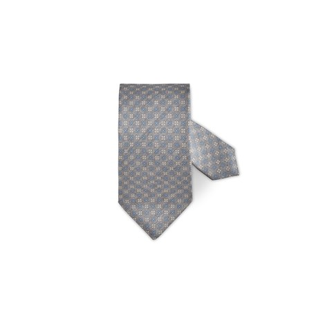 Light Grey Flower Patterned Silk Tie
