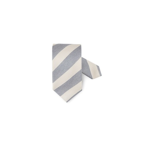 Striped Tie In Cotton-Linen